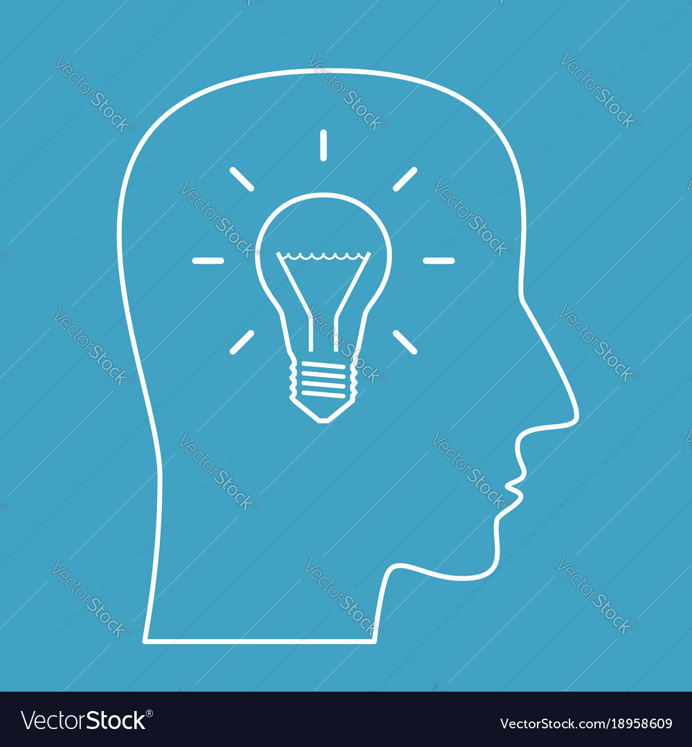 Head outline with lightbulb vector image