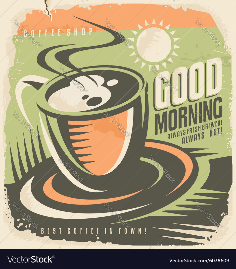 Retro poster design template for coffee shop vector image