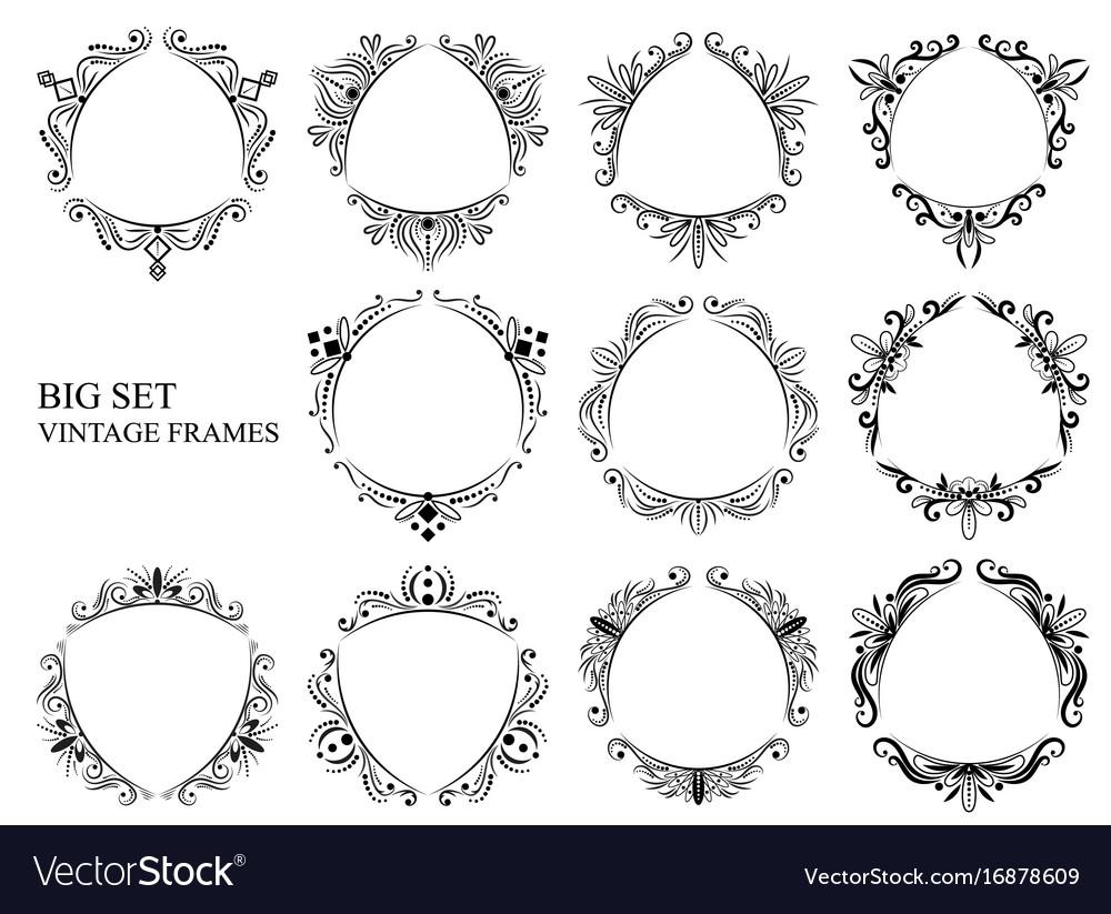 Vintage triangular frames big set vector image