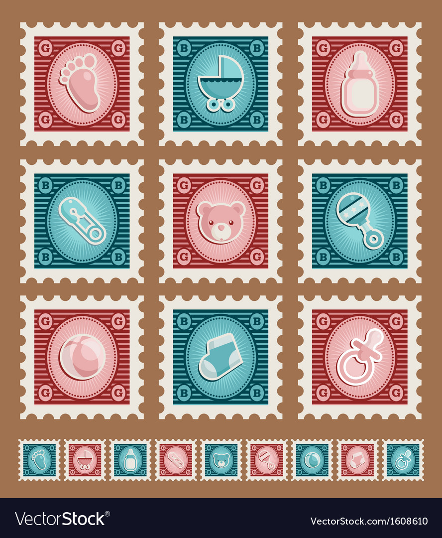 Baby Shower Stamps Vector Image
