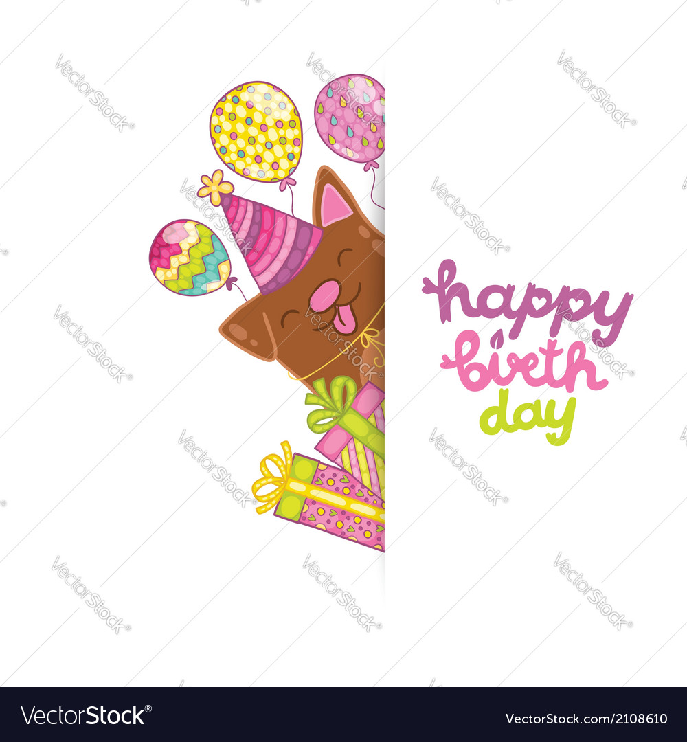 Happy birthday card background with a dog vector image bookmarktalkfo Choice Image