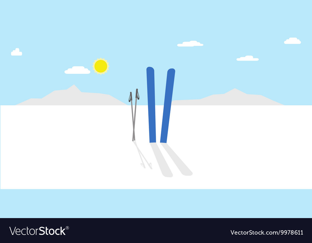 Cartoon winter landscape nature with vector image