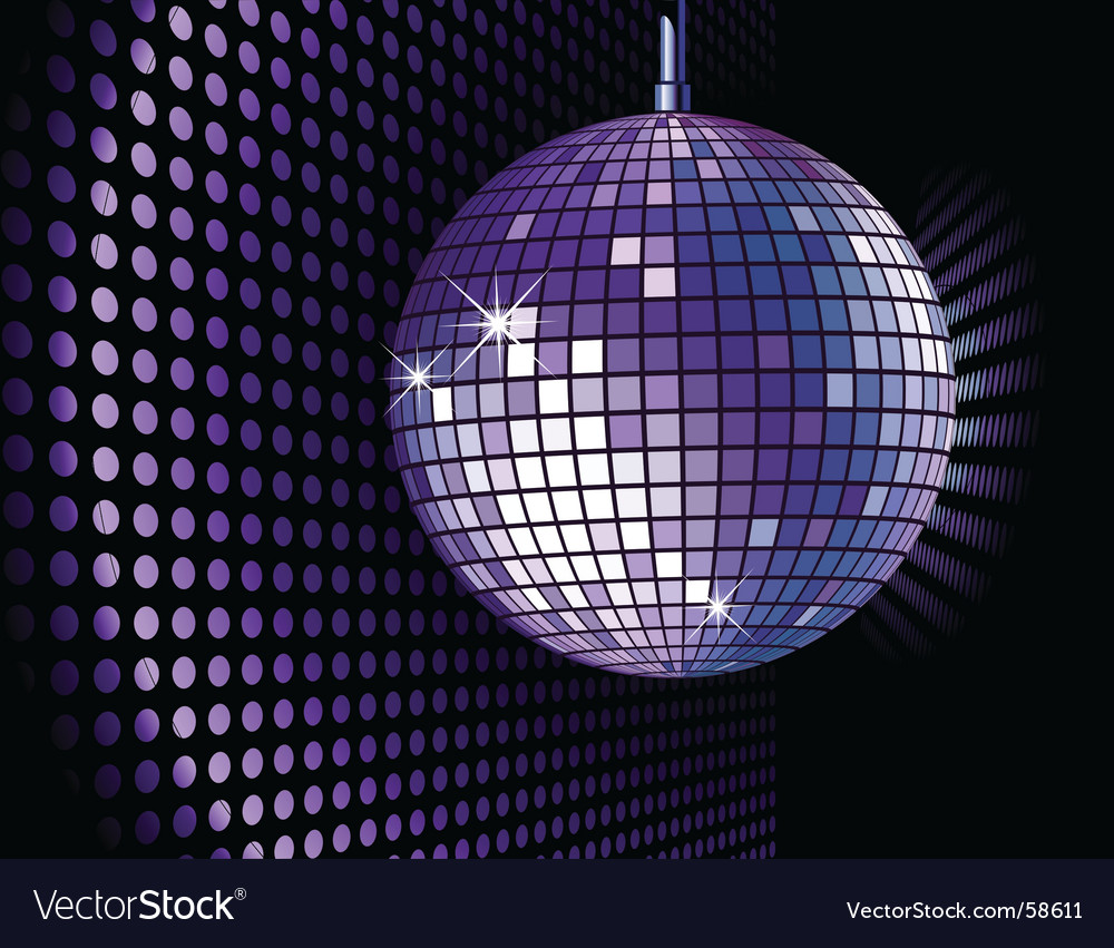 Disco ball purple vector image