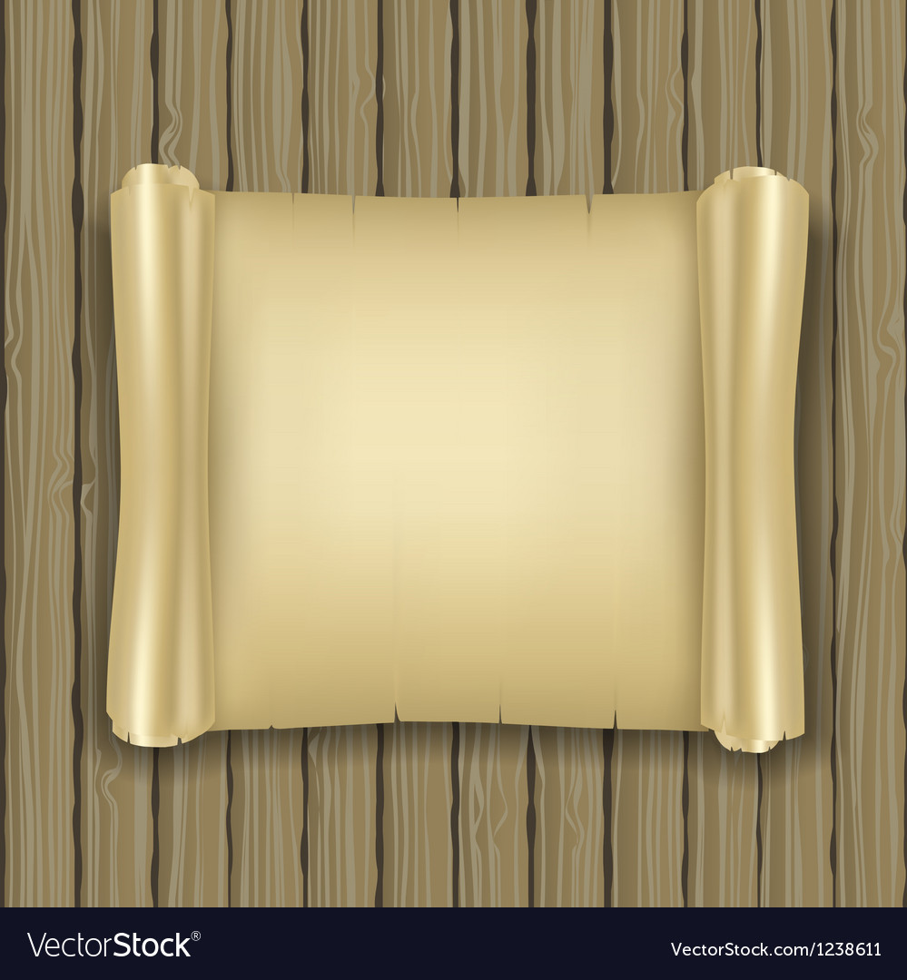 Old scroll on wood vector image