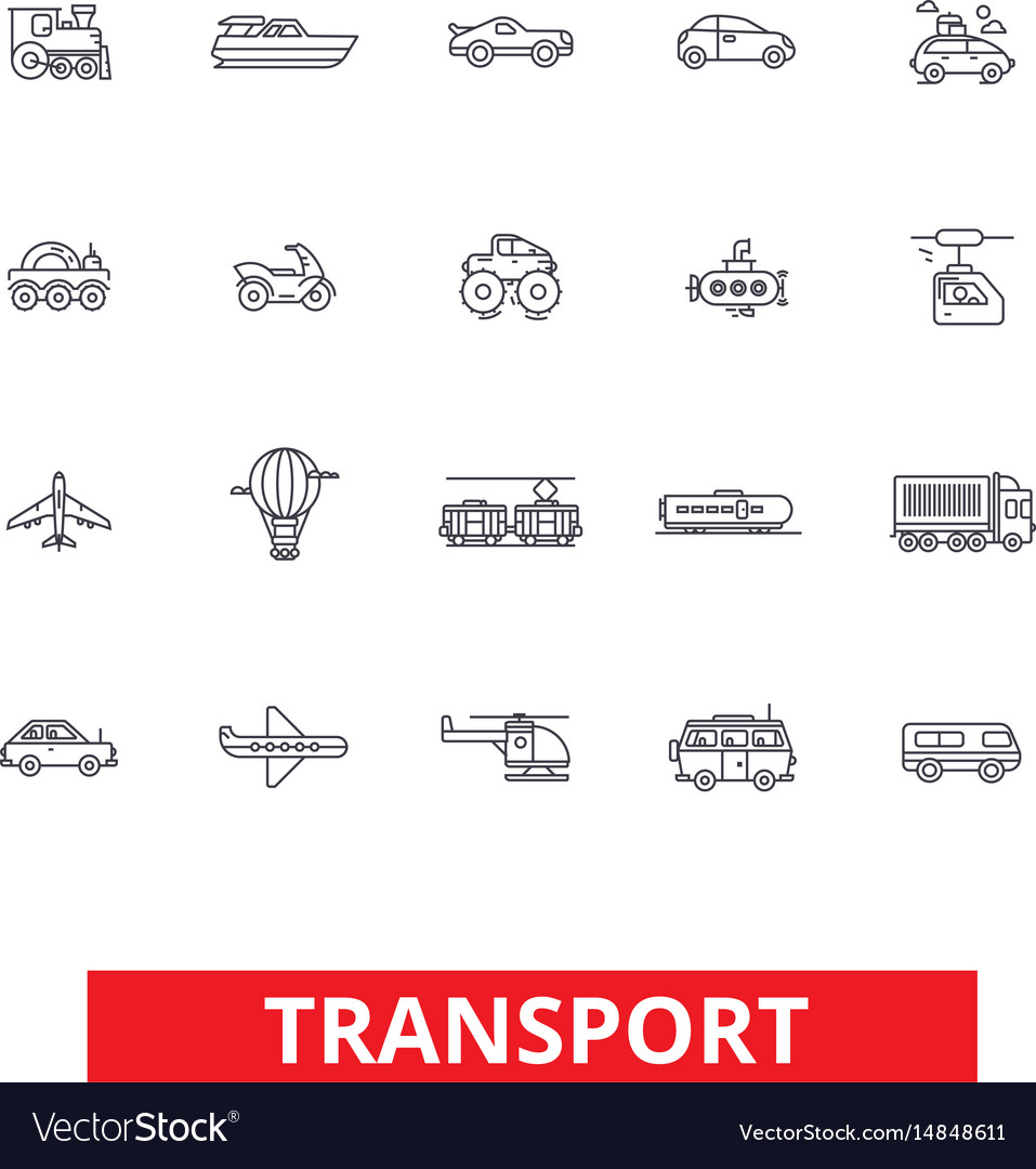 Transport car truck ship tram bus delivery vector image