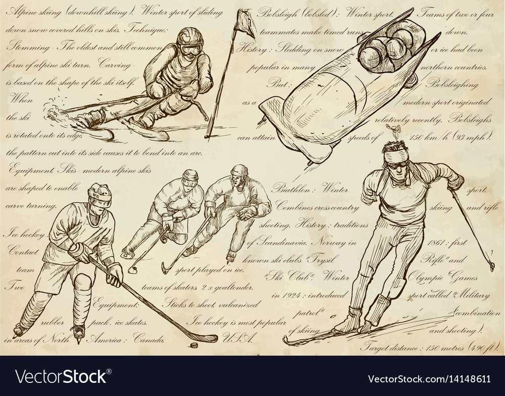Winter sports - an hand drawn line vector image