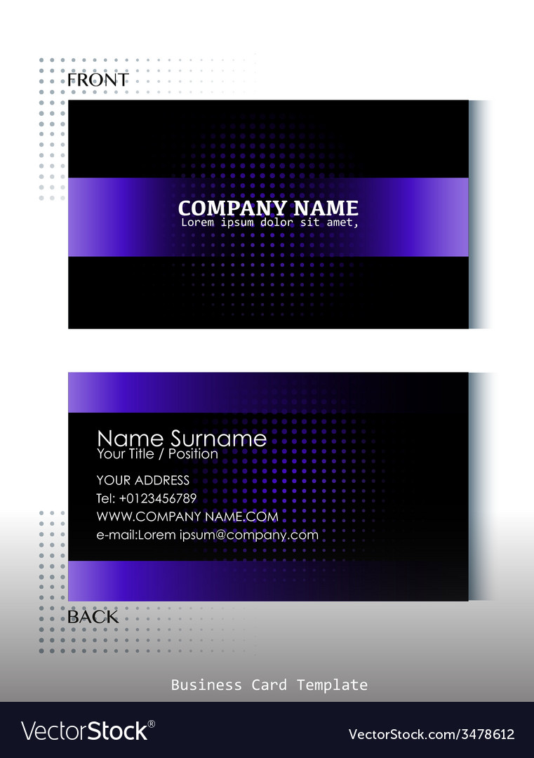 A black and violet colored business card Vector Image