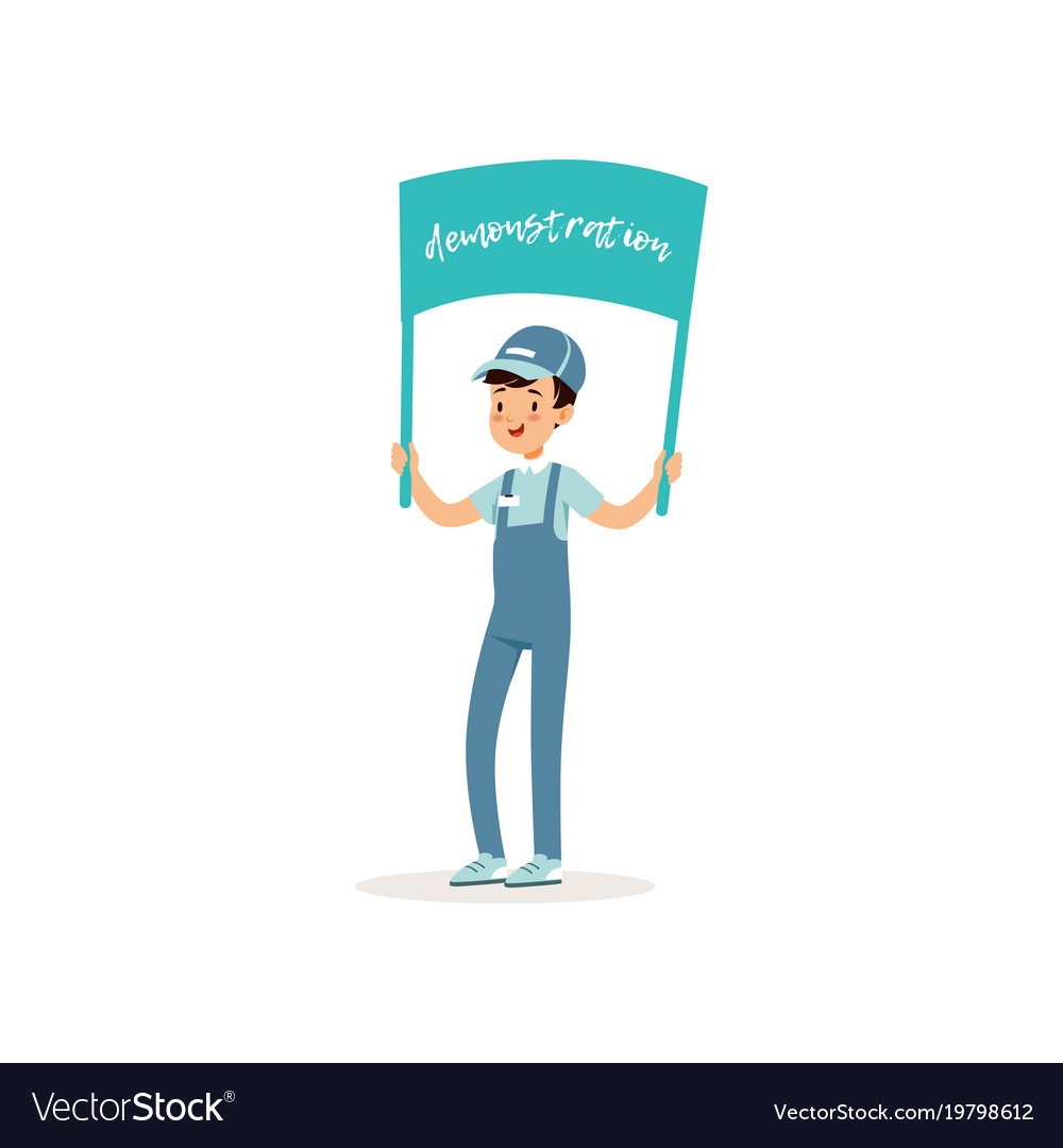 Young guy participates in peaceful demonstration vector image