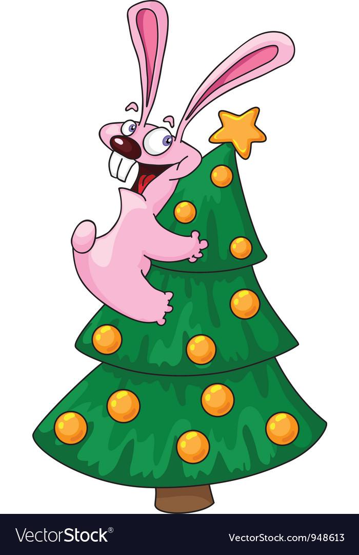 Rabbit and christmas tree vector image