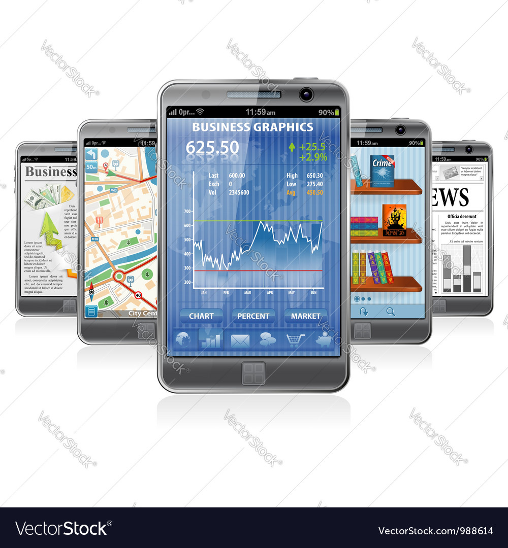 Smartphones with various Applications vector image
