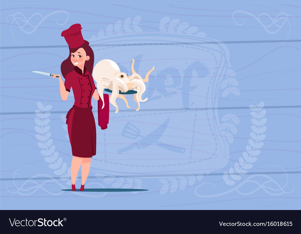 Female chef cook holding octopus cartoon chief in vector image