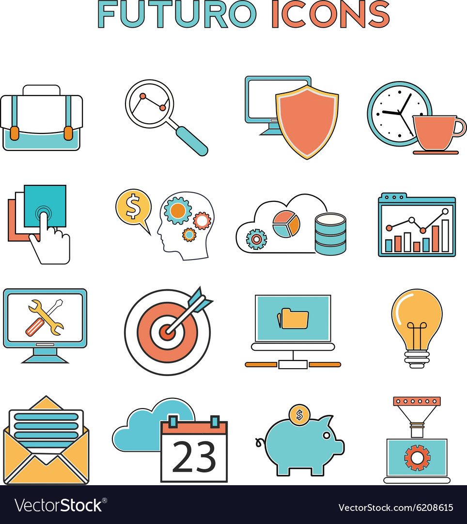 Line icons with flat design elements of business vector image
