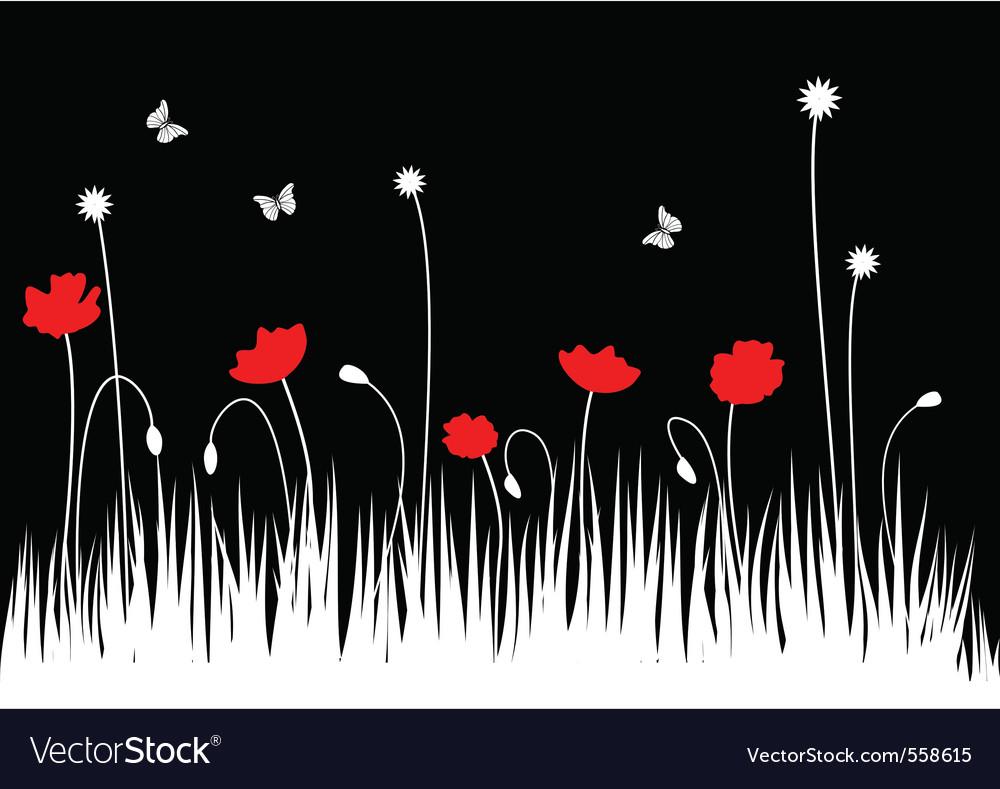 Poppy meadow vector image