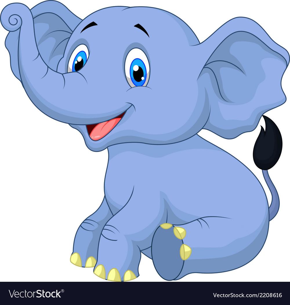 Cute baby elephant cartoon sitting vector image