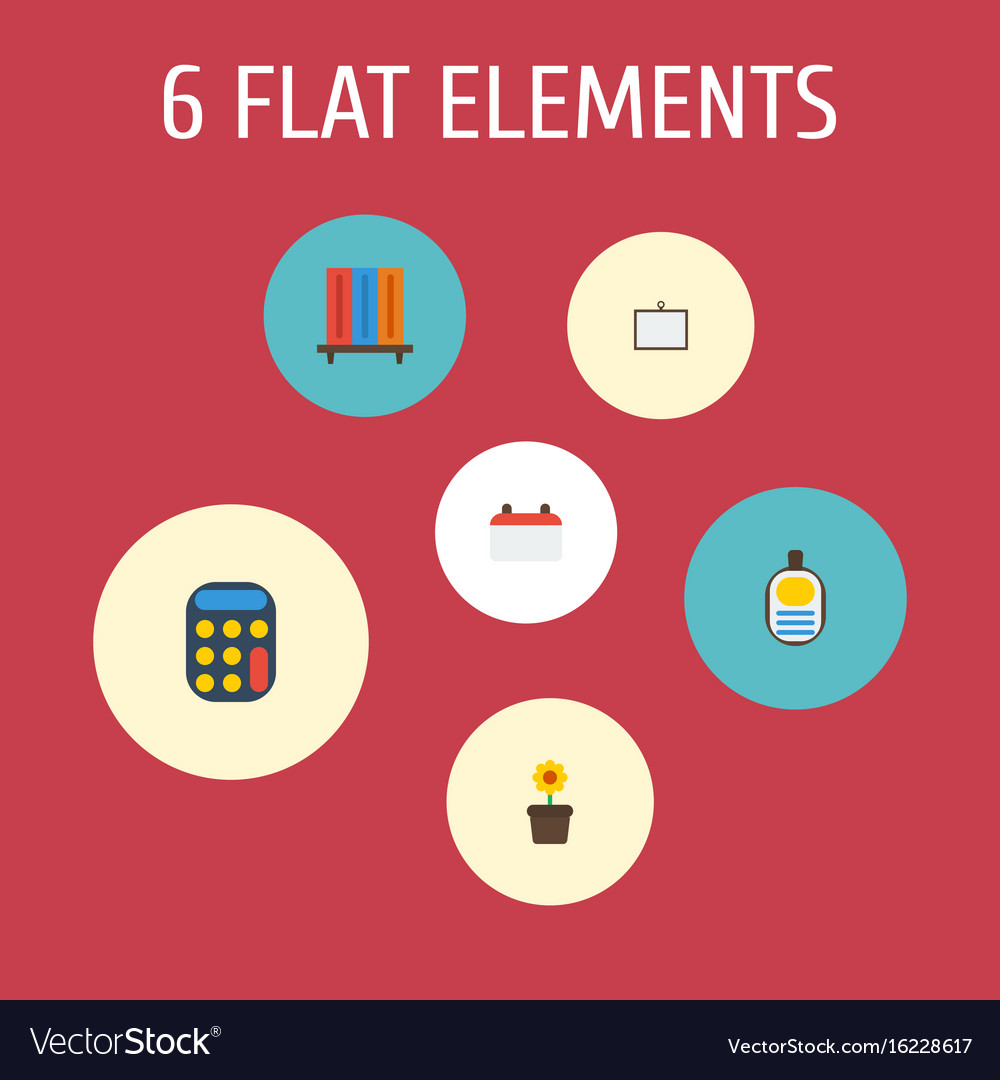 Flat icons calculate whiteboard identification vector image