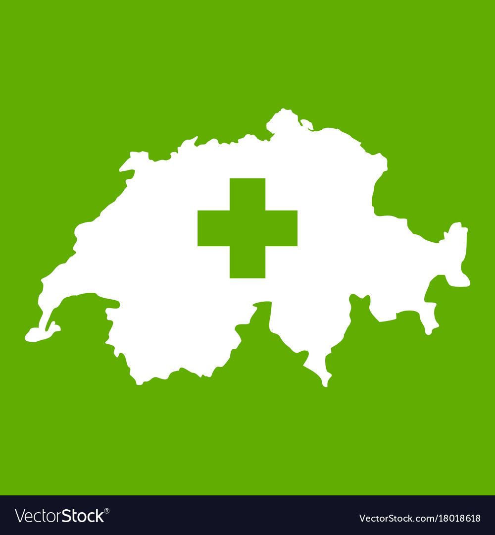 Switzerland map icon green Royalty Free Vector Image