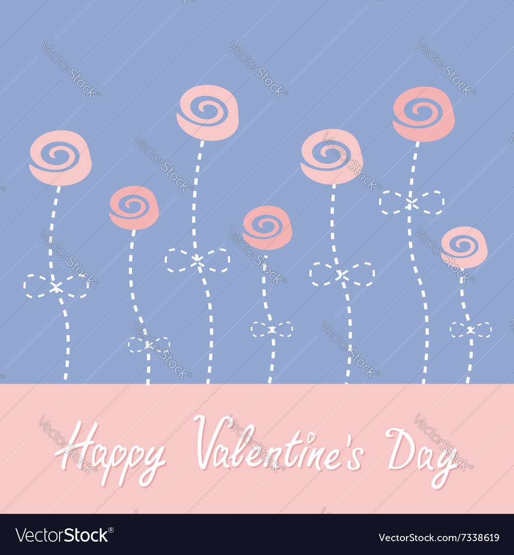 Roses with dash line stalks Happy Valentines Day vector image