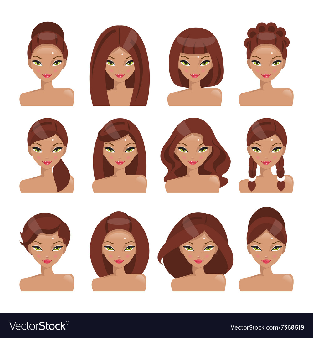 how would i look with different hair styles set of with different hairstyles royalty free vector 2021
