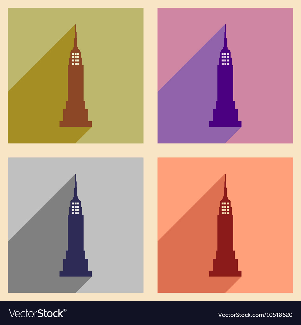Set of flat icons with long shadow American