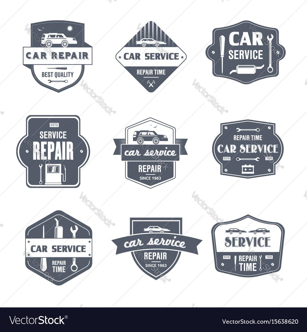 Car repair - vintage set of logos vector image