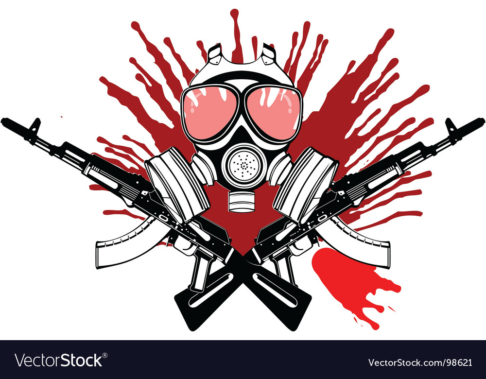 Gas mask gun and blood vector image