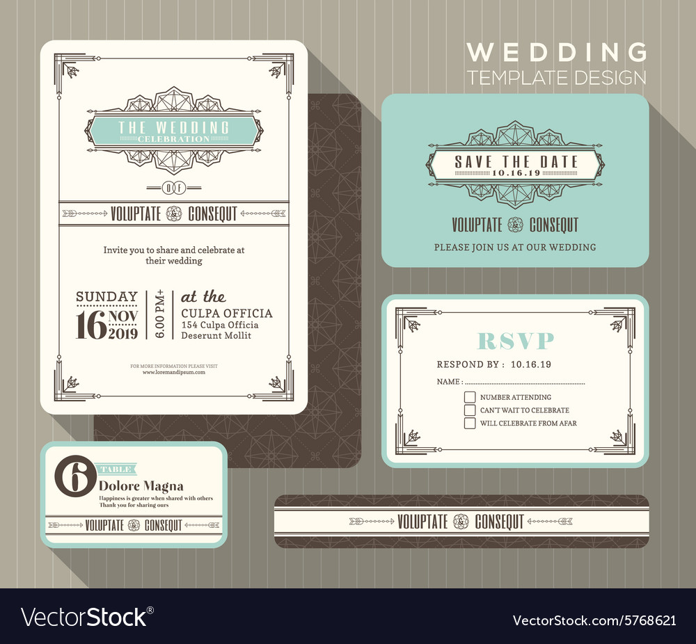 Vintage art deco wedding invitation set Template vector image