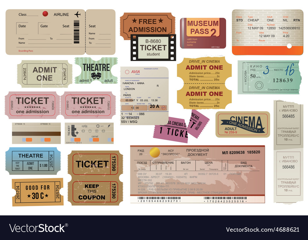 World traveller tickets collection vector image