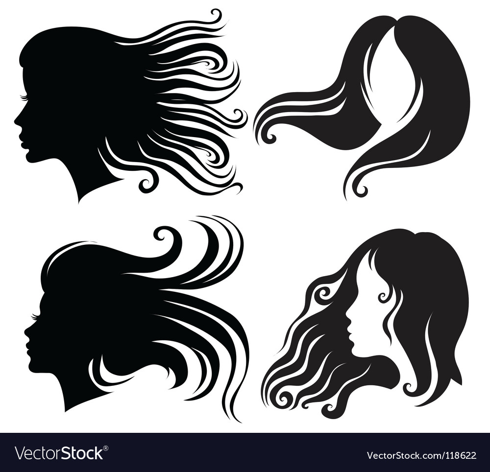 Silhouettes of woman vector image