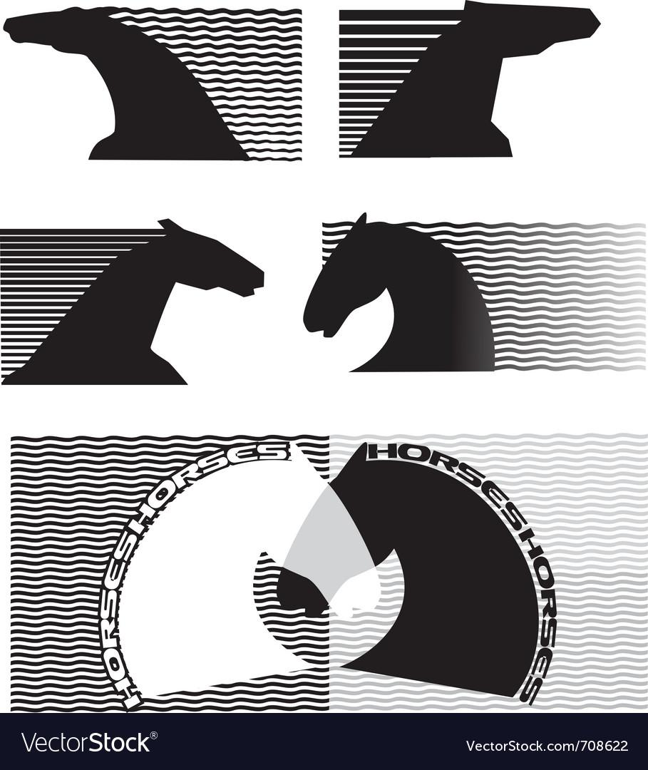 Horses cartoon vector image