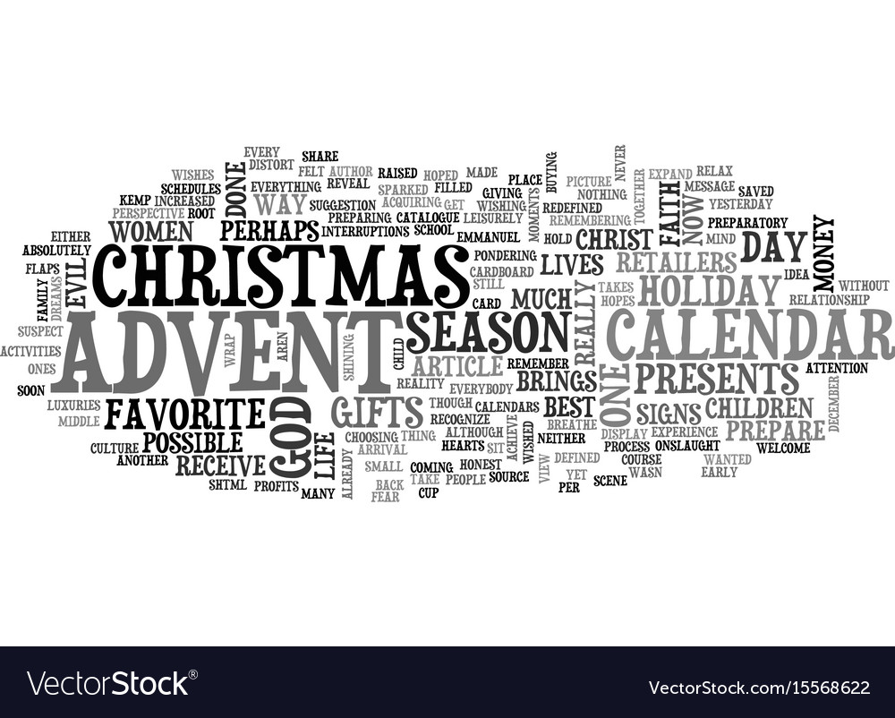 Advent calendar revisited text word cloud concept vector image