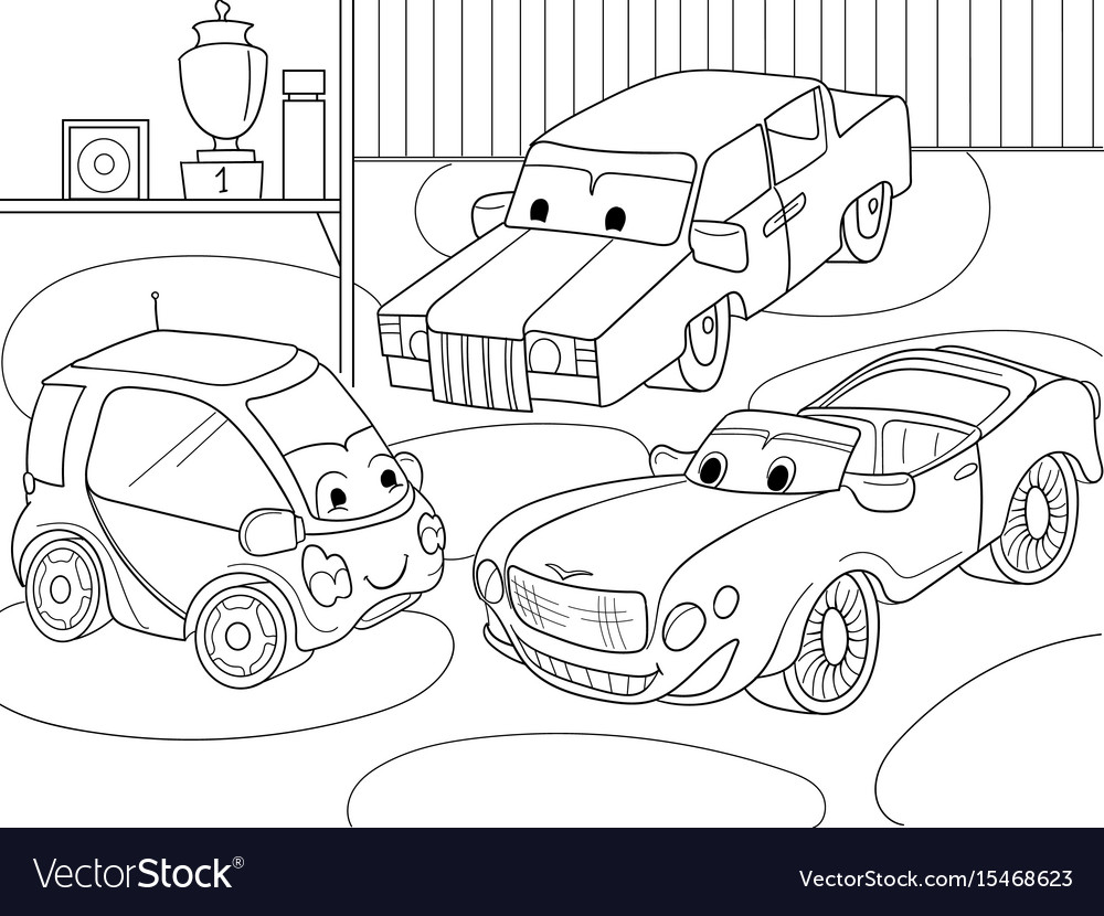 Childrens cartoon coloring book for boys vector image
