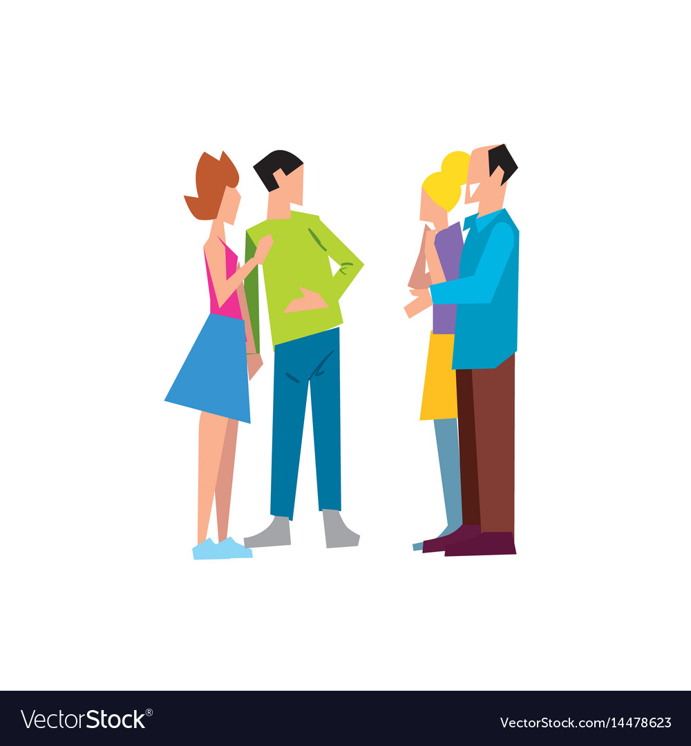 Two family couple speaking together vector image