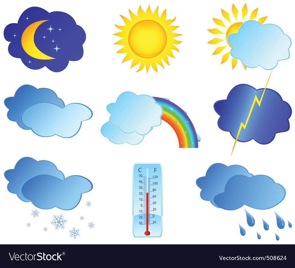 Weather elements Royalty Free Vector Image - VectorStock