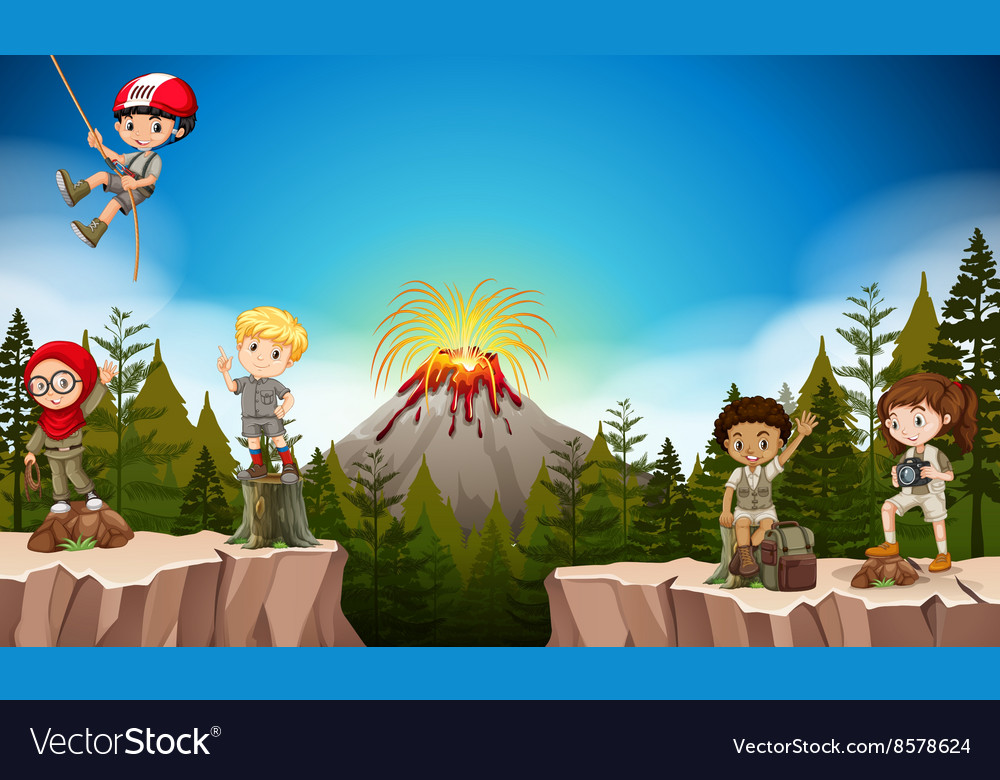 Boys and girls camping in the mountain vector image