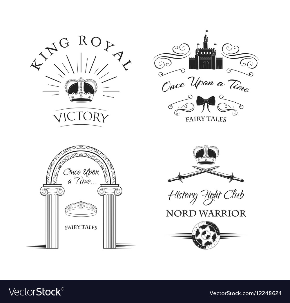Royal Elements Set Labels Crown Castle Knight s vector image