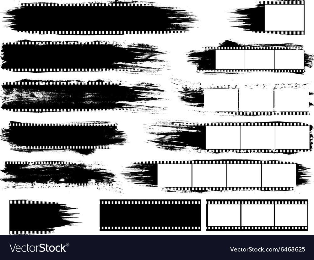 Grunge Inspired Film Strips and Elements vector image
