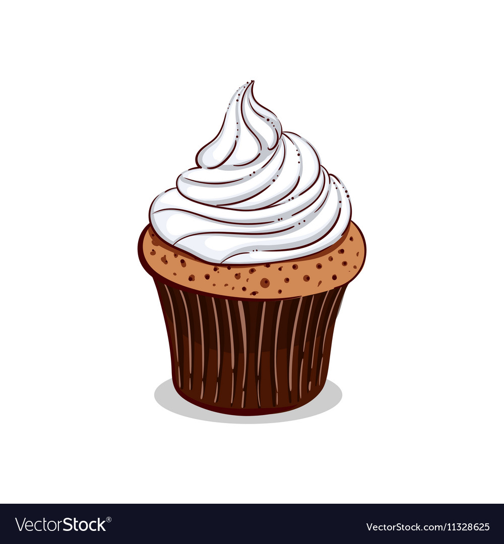 Isolated Creamy Cupcake vector image