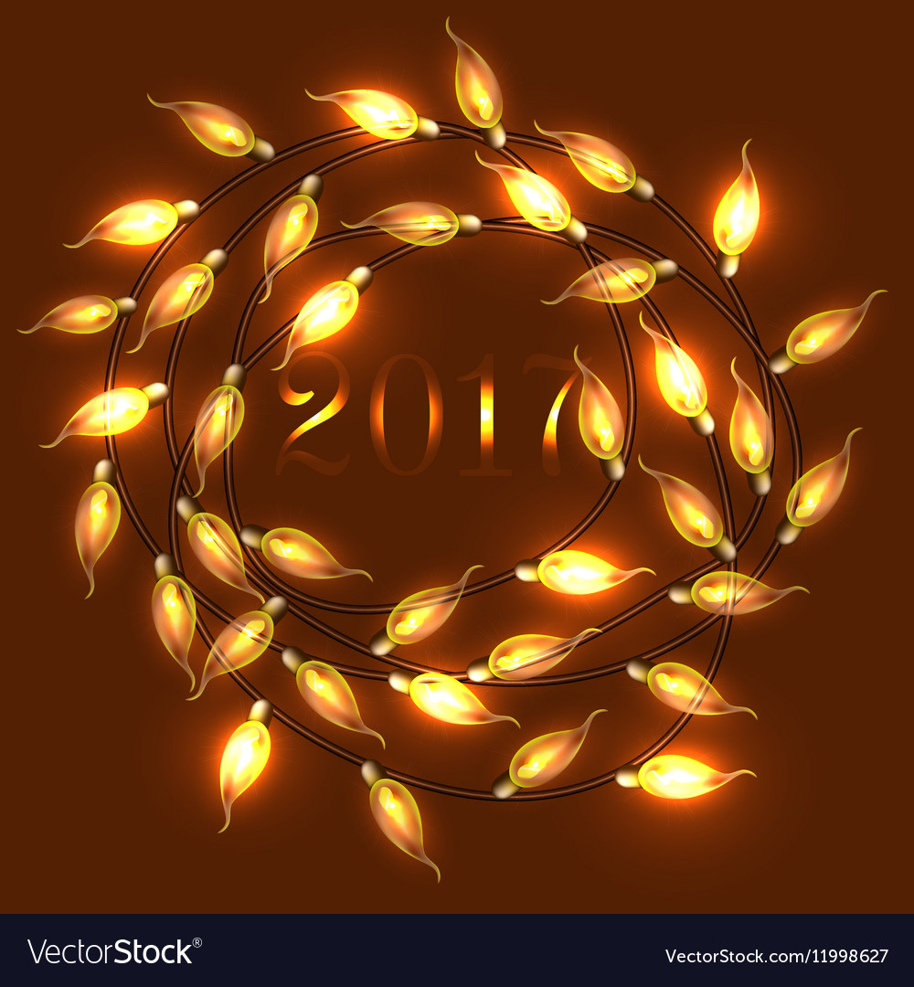 Colorful Glowing wreath of Christmas Lights banner vector image