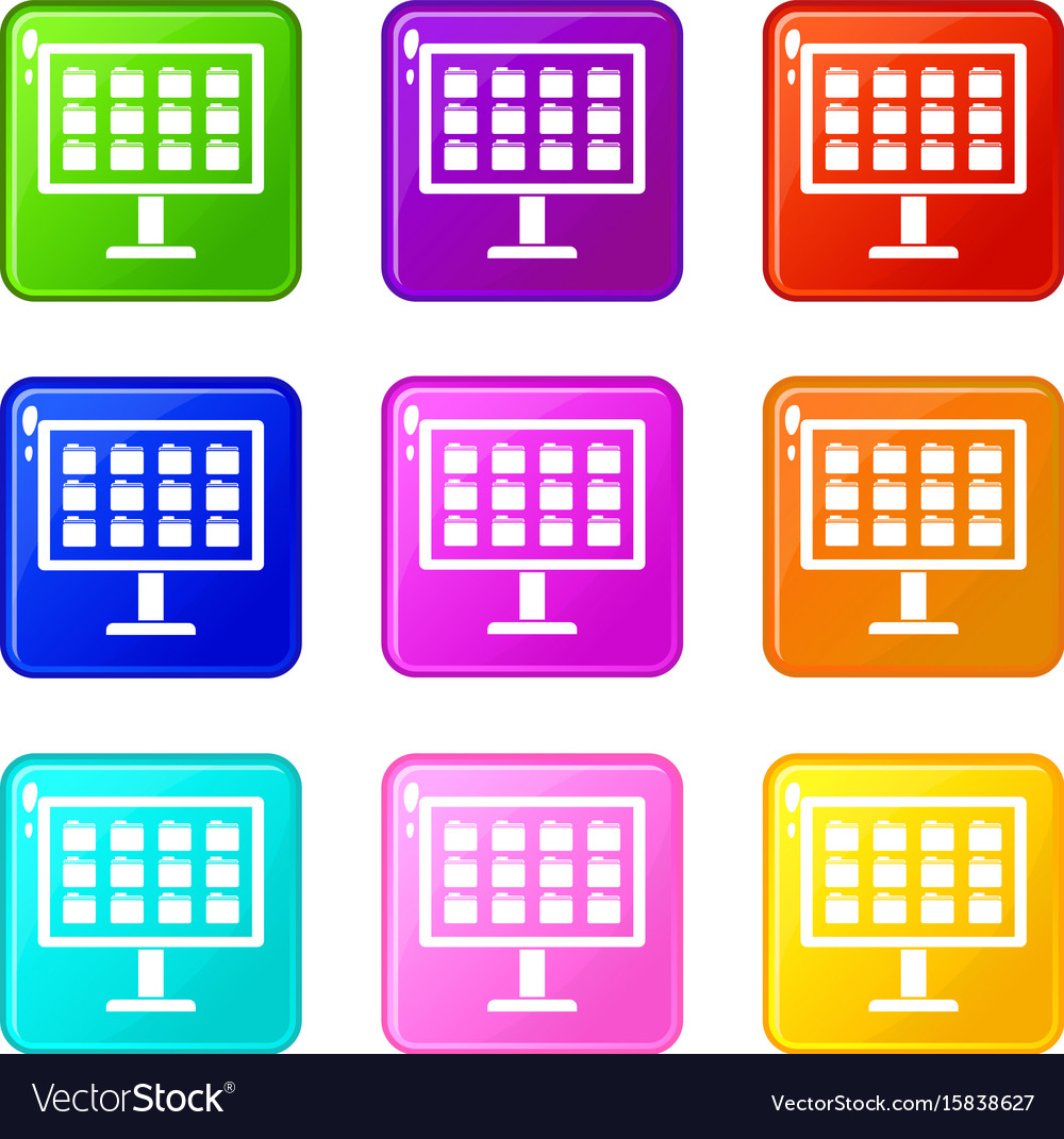 Desktop of computer with folders icons 9 set vector image