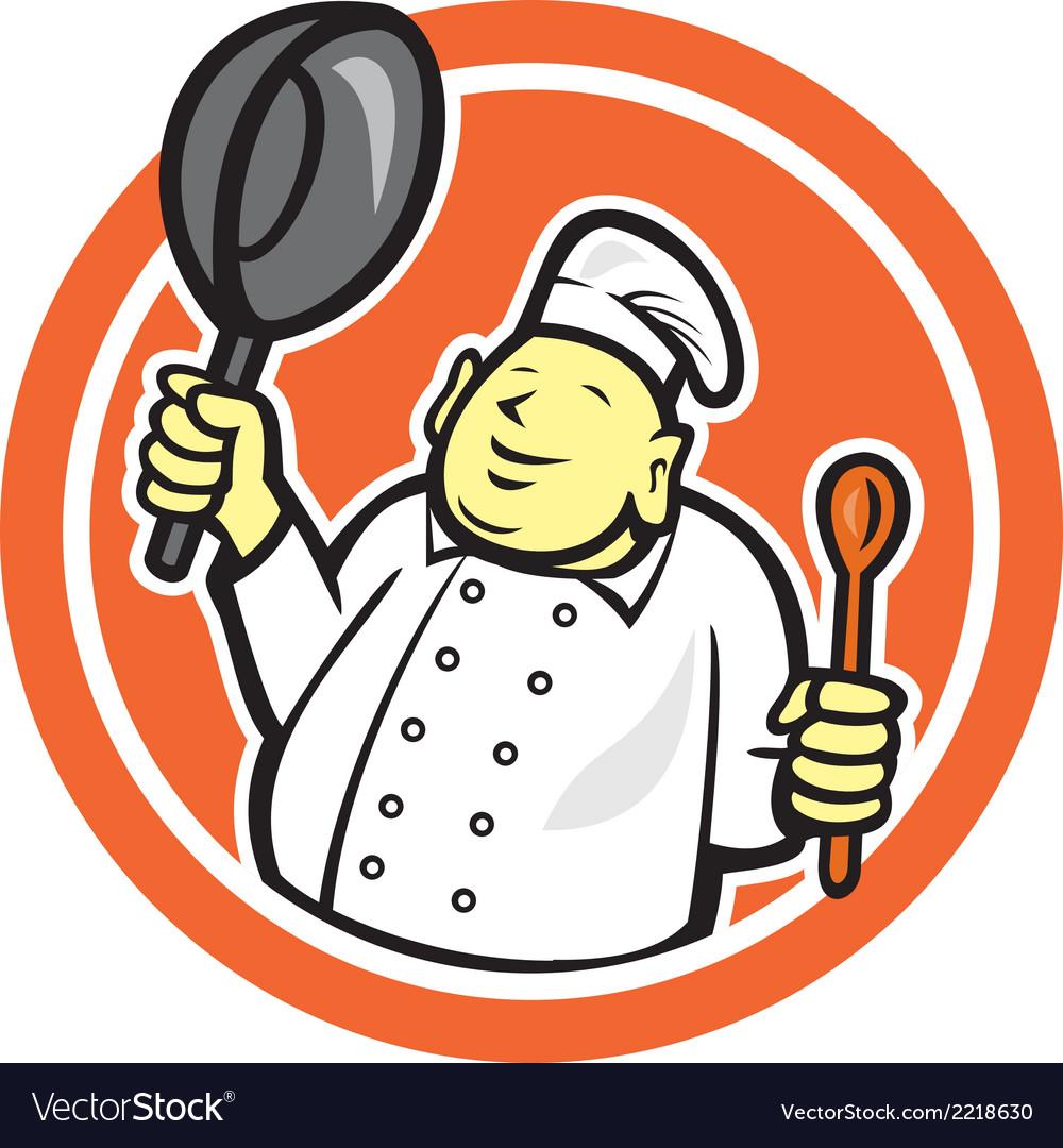 Fat Buddha Chef Cook Holding Pan Circle Cartoon vector image