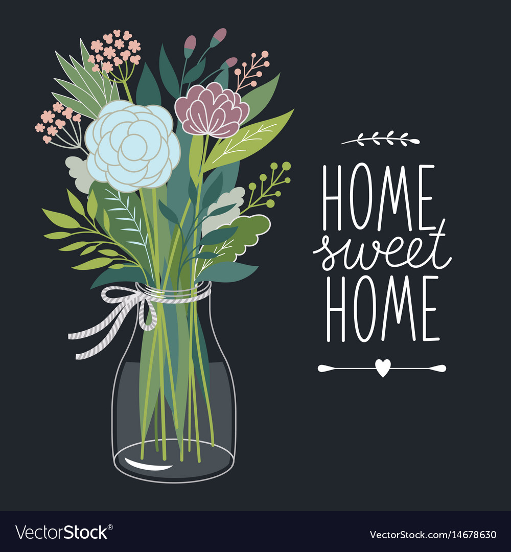 Home sweet home design card Royalty Free Vector Image
