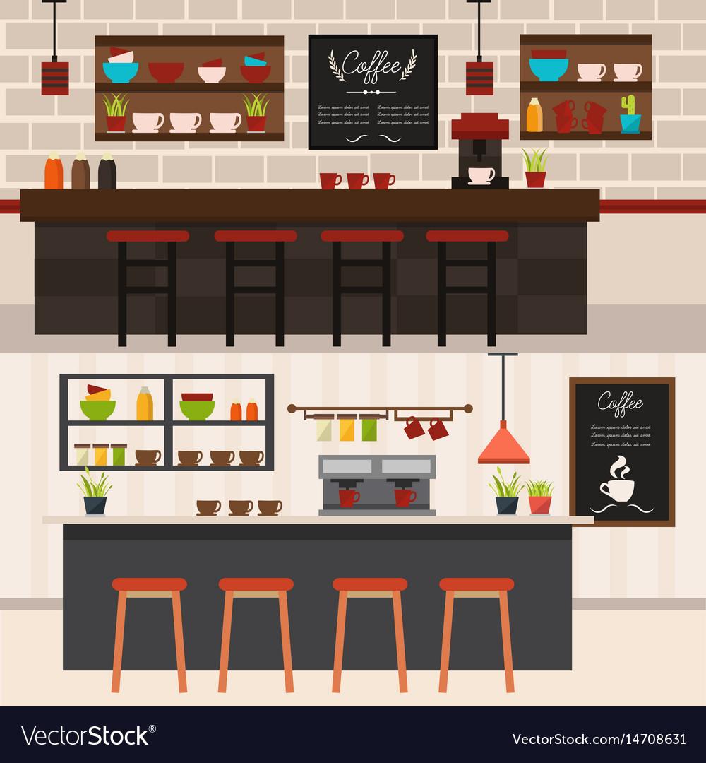 Coffee shop interiors horizontal banners vector image