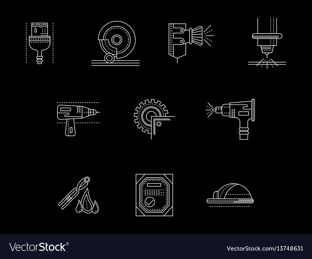 Metal processing flat white line icons set vector image