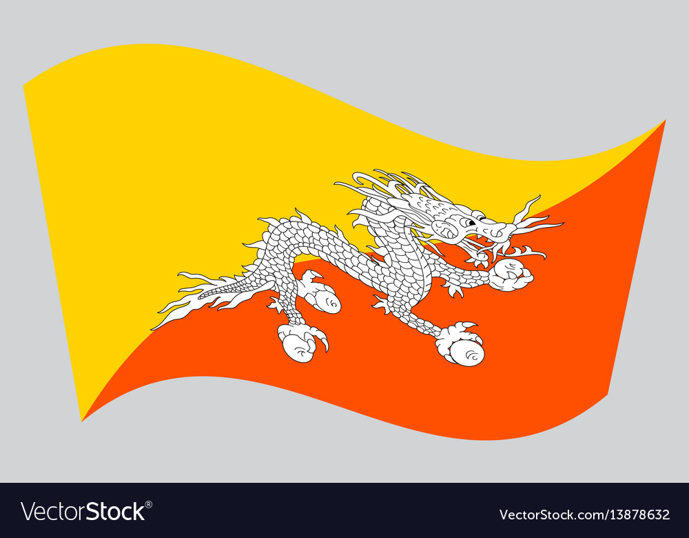 Flag of bhutan waving on gray background vector image