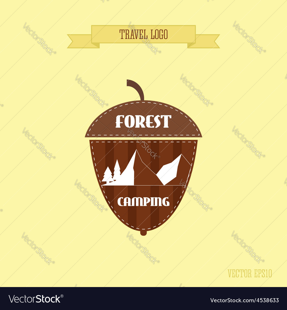 Camping wilderness adventure badge graphic design vector image