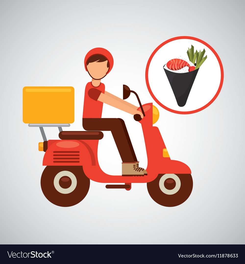 Delivery boy ride motorcycle temaki food japanese vector image