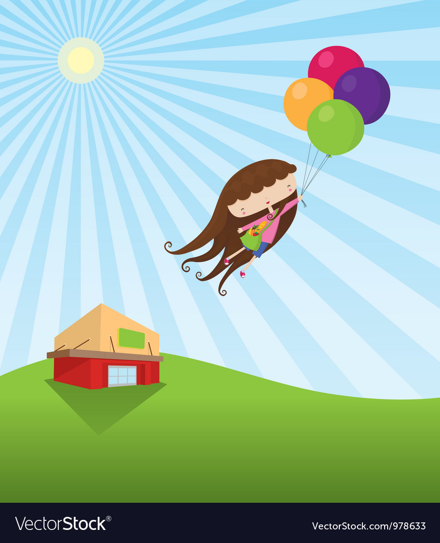 Young Girl Grocery Shopping vector image