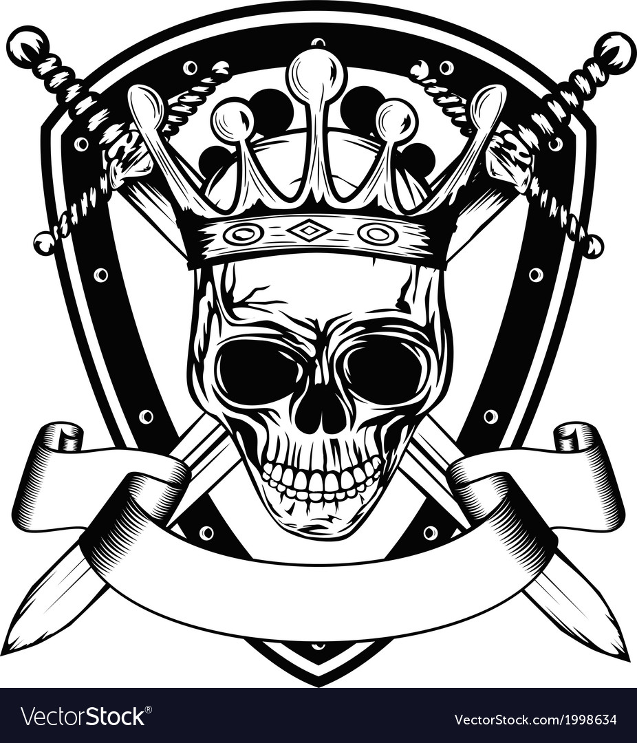 Skull in crown board and crossed swords vector image