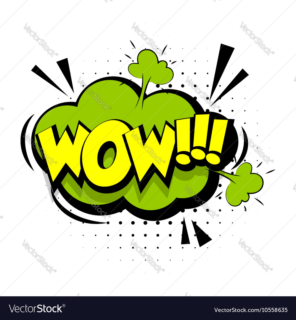 Comic sound effects pop art word Lettering Wow vector image
