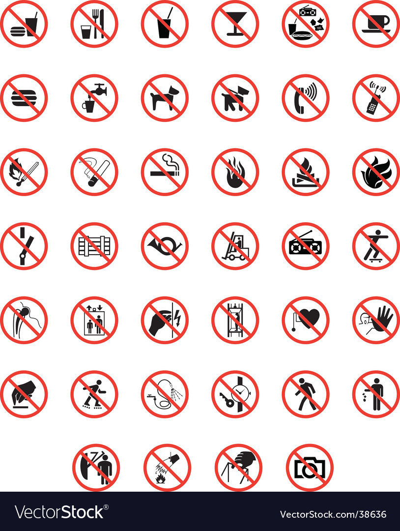 Prohibited warning signs vector image